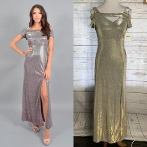 NWT nightway gold cold shoulder formal gown 6